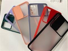 Чехол iPhone 12 / 12 Pro матовый с цветными краями и защитой камеры раздвижное окно в ассорт